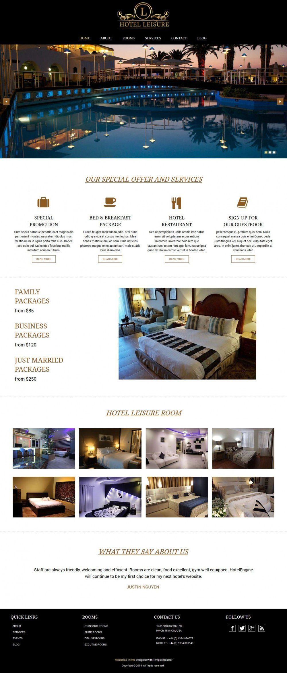 leisure hotel restaurant html template