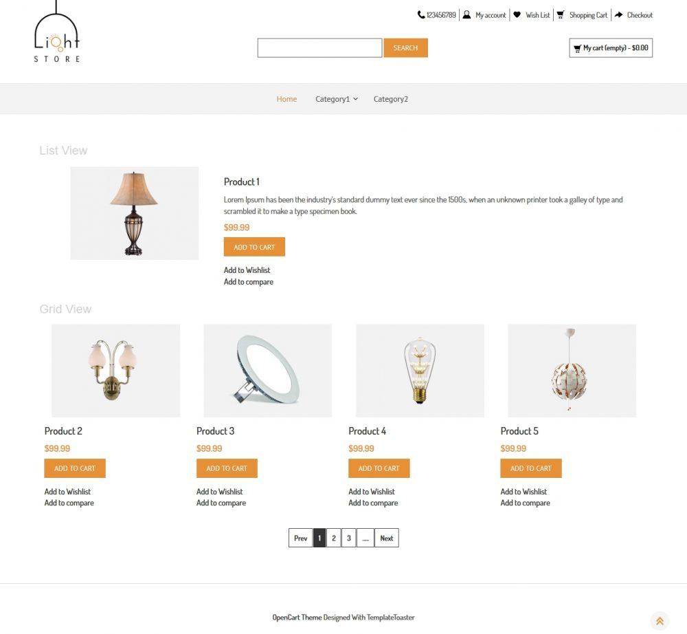 Light Store Opencart Theme