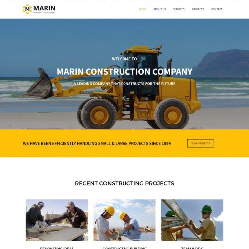 marin construction company blogger template