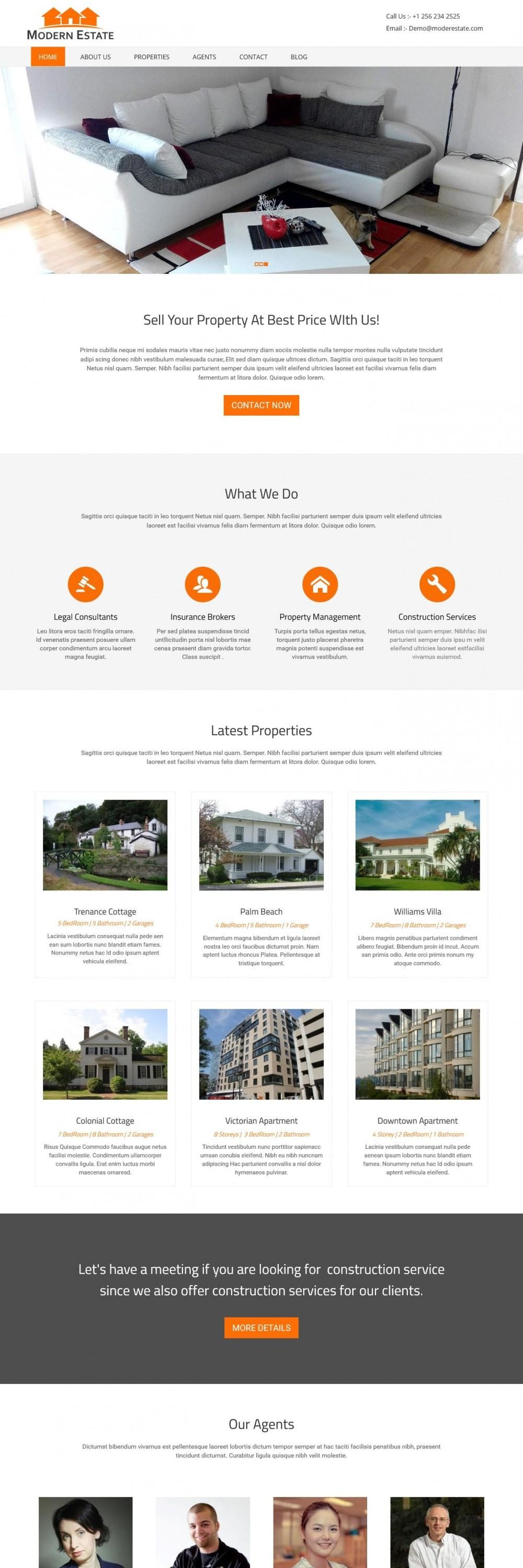 modern real estate interior designs html template
