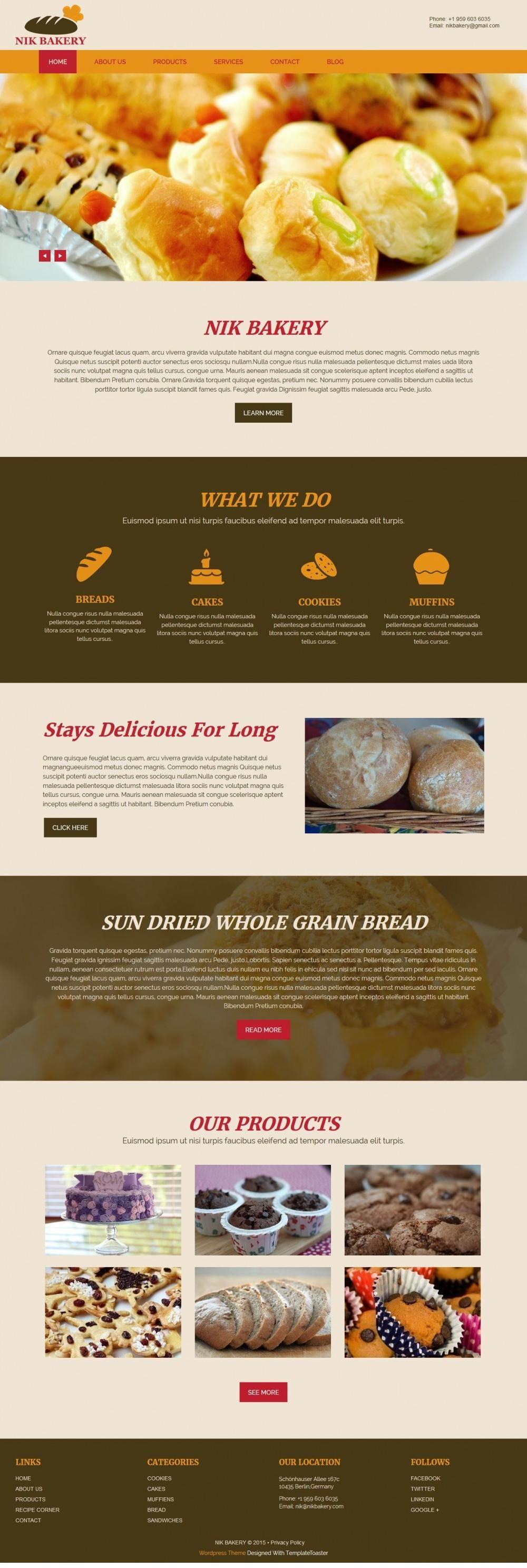 nik bakery cake html template