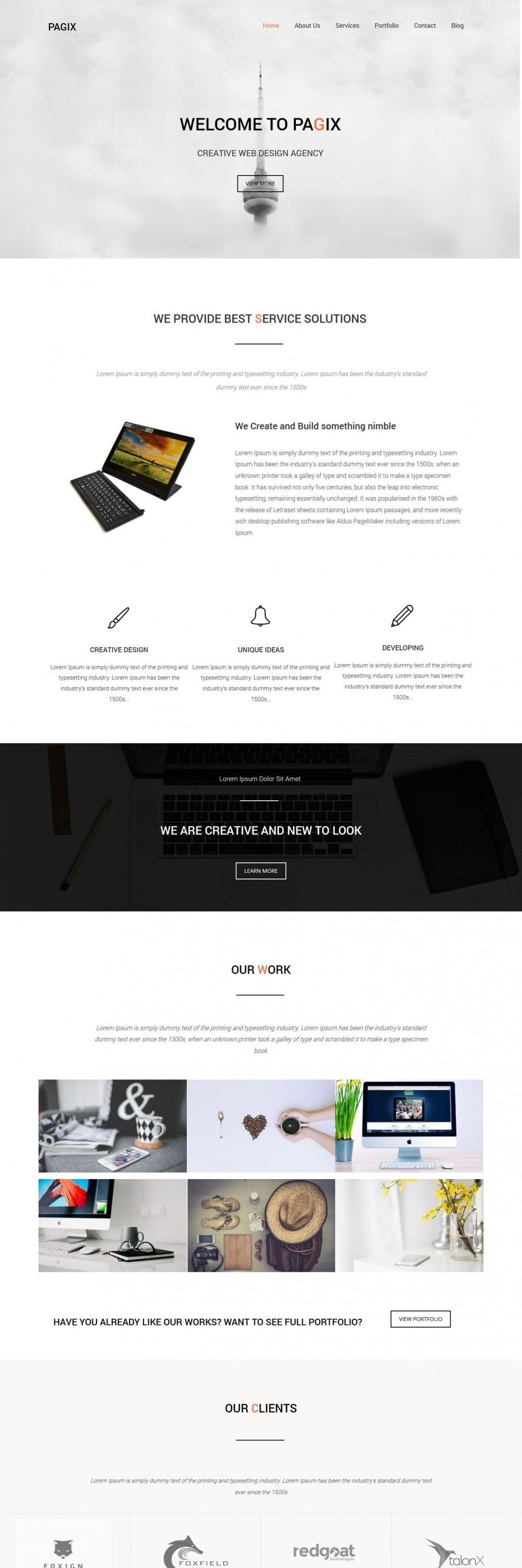 pagix web design studio html template