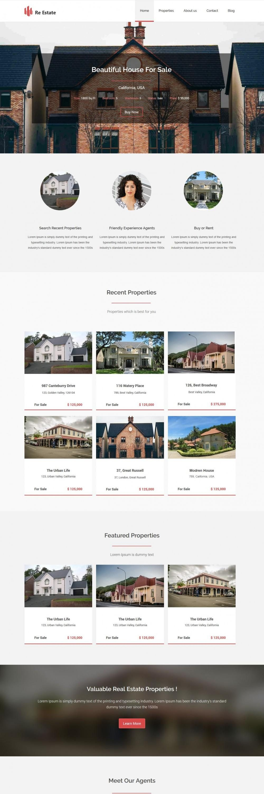 re-estate real estate blogger template