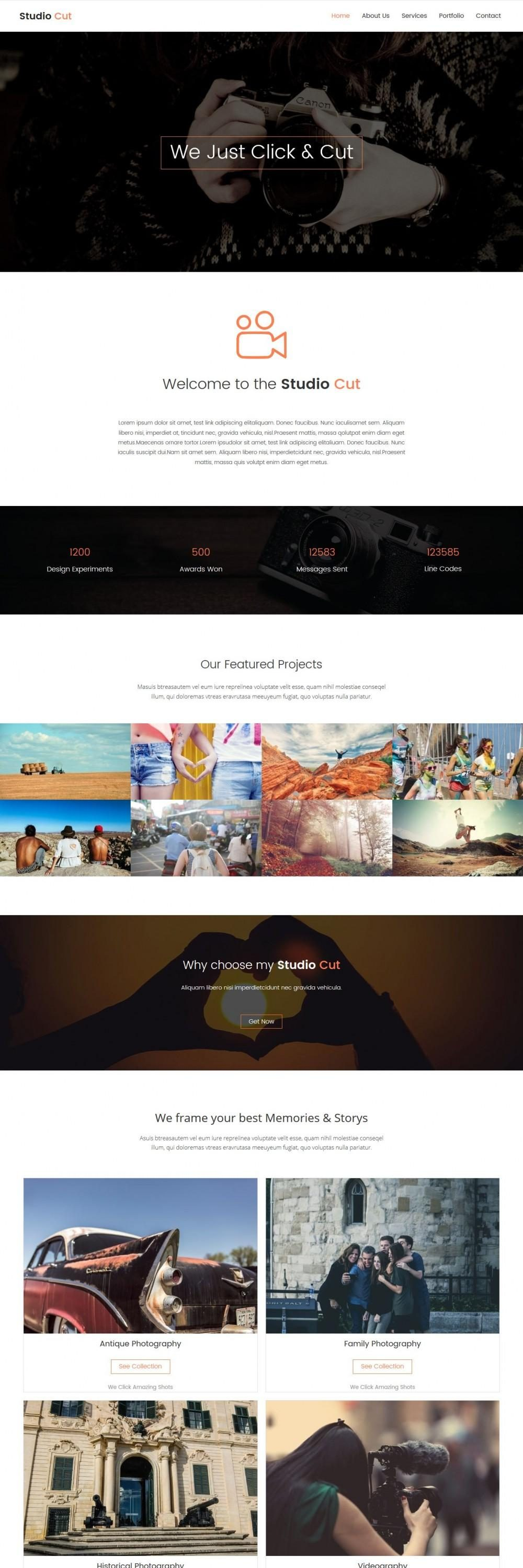 studio cut photography blogger template
