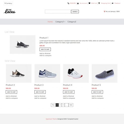 the laces footwear shop opencart theme