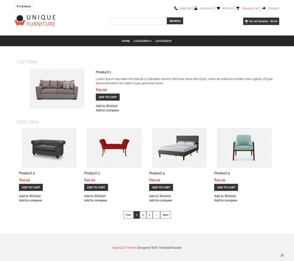 Unique Furniture Shop Opencart Theme