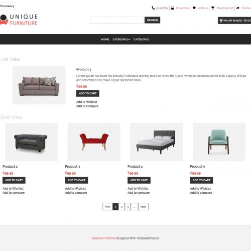 Unique Furniture Shop Opencart Theme