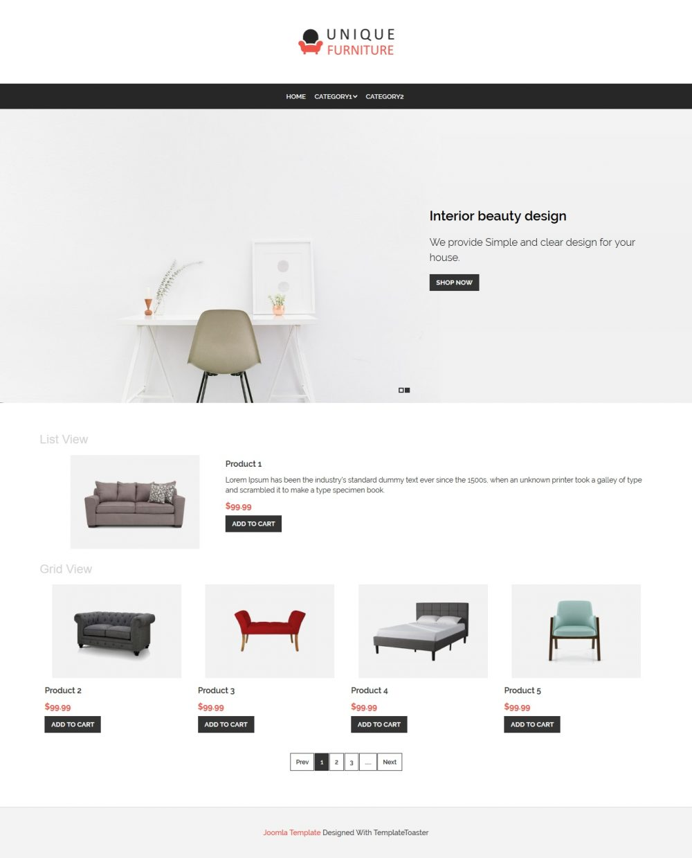 Unique Furniture Shop Virtuemart Template