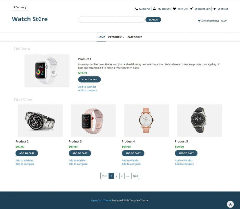 Watch Store Opencart Theme