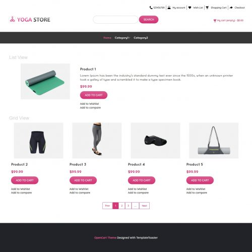 Yoga Store Product Shop Opencart Theme