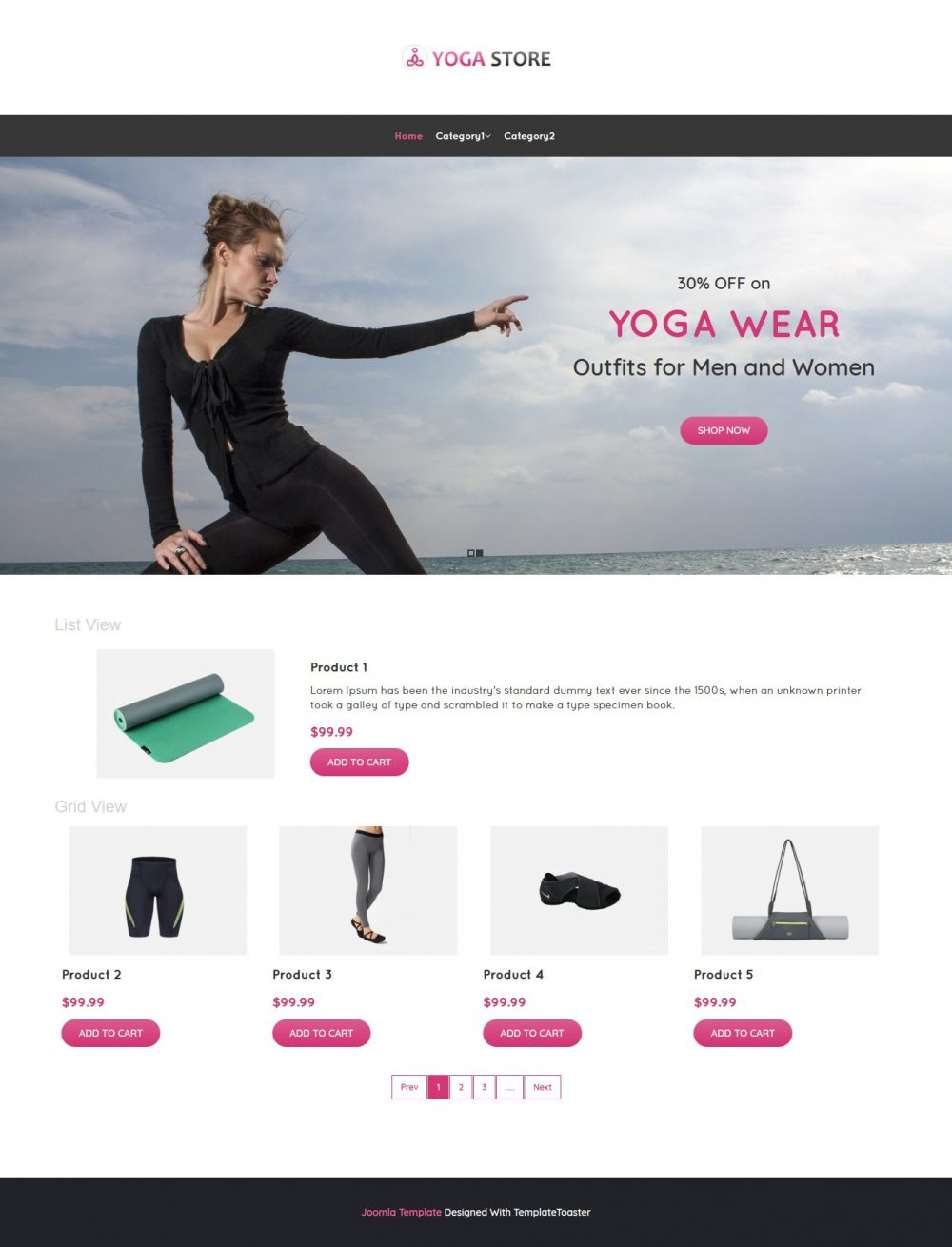 Yoga Store Product Shop Virtuemart Template