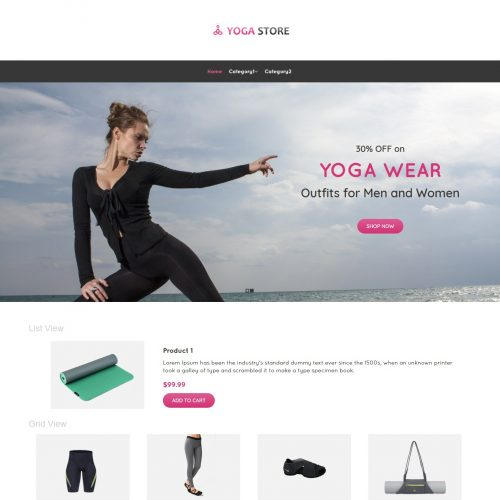 Yoga Store Product Shop Virtuemart Template
