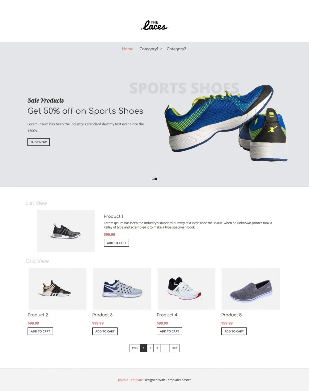 the laces footwear shop virtuemart template