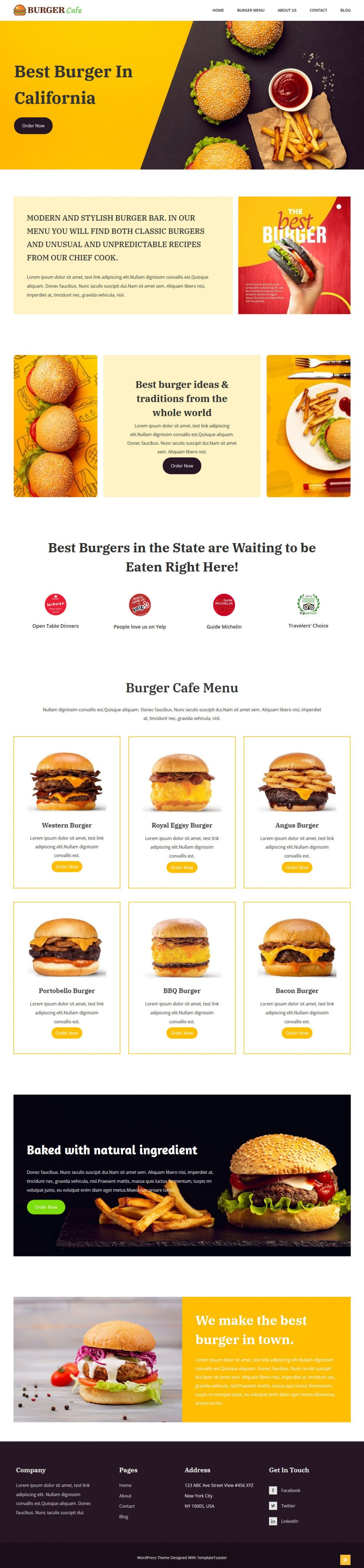 Burger Cafe restaurant wordpress theme