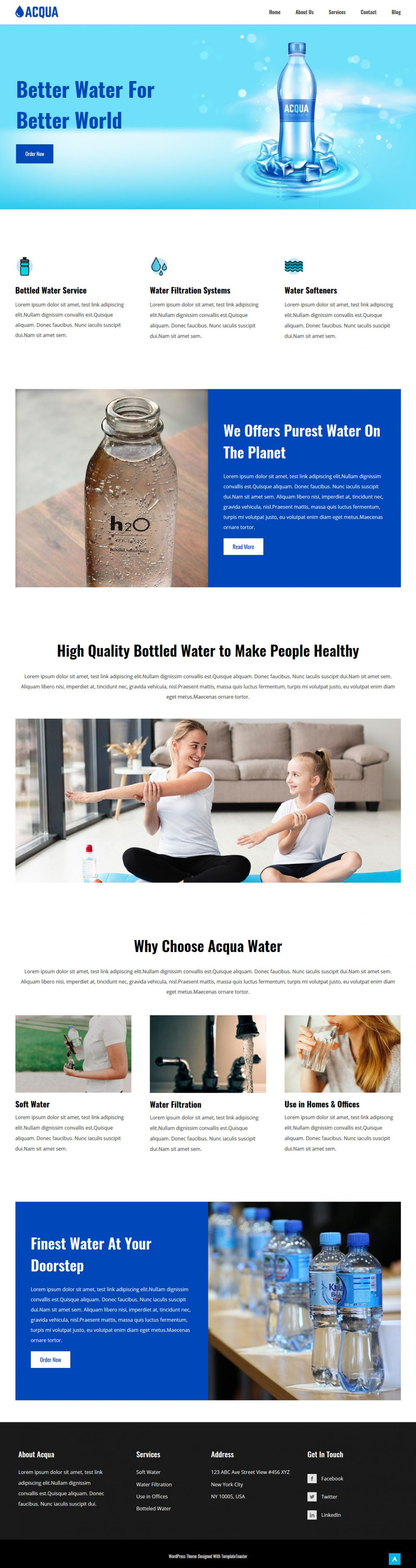acqua water purifier and delivery wordpress theme