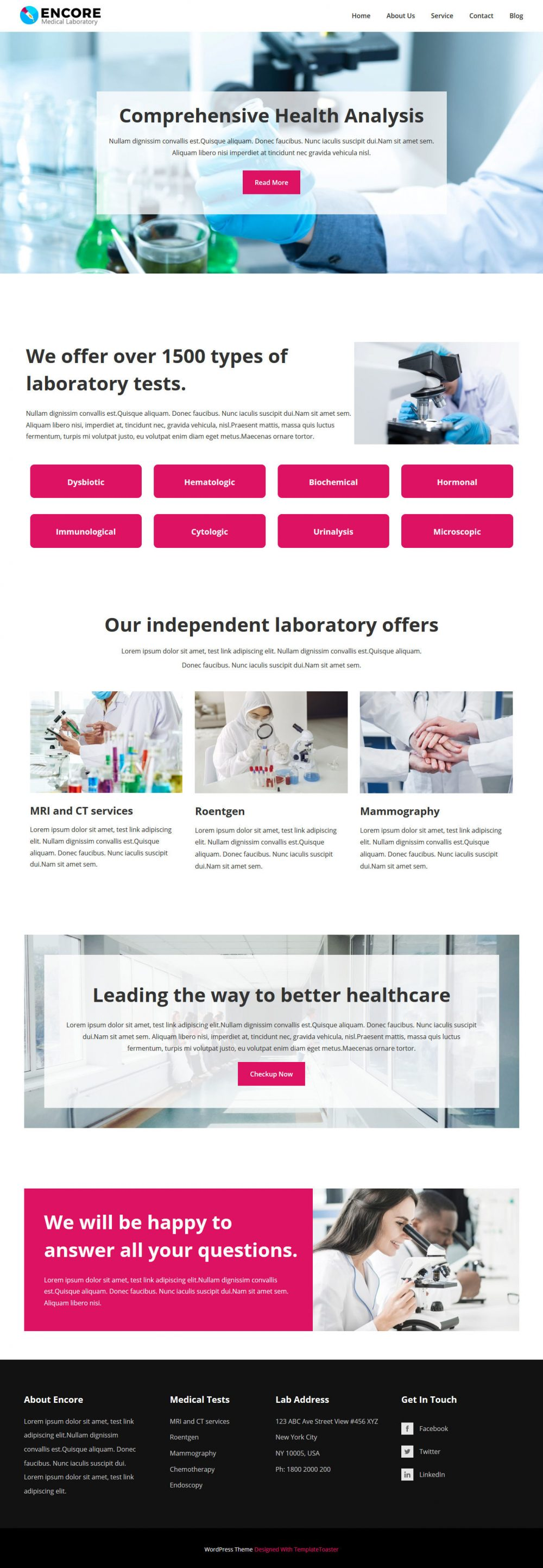 Encore Medical Laboratory WordPress Theme