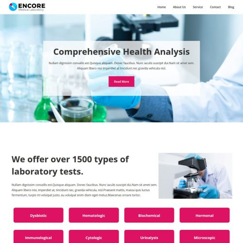 Encore Medical Laboratory WordPress Theme
