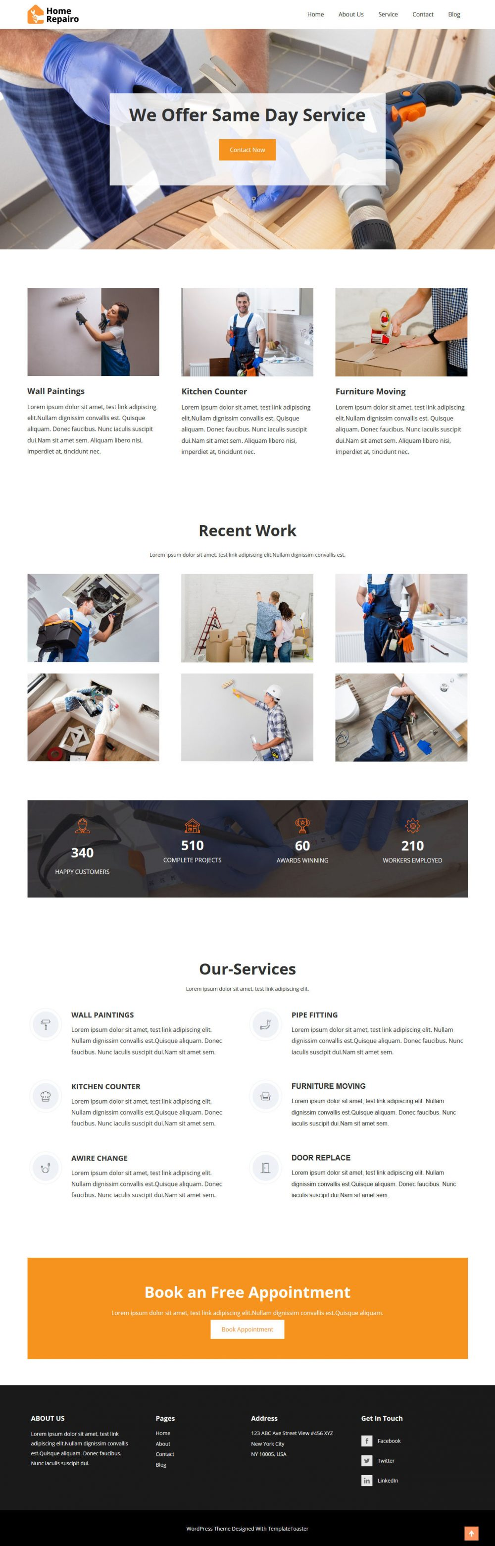 home repairo repair and maintenance services html template