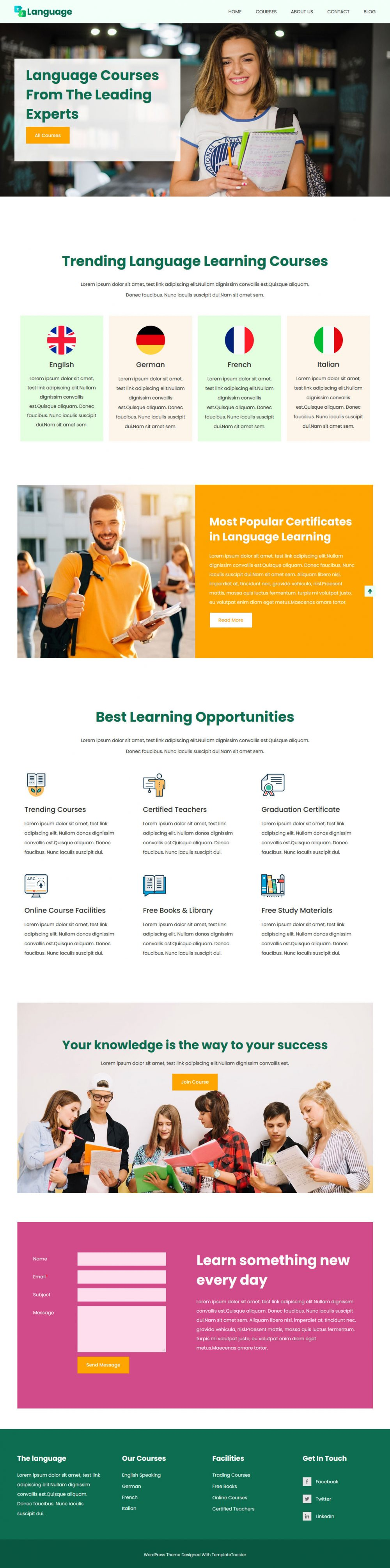 language courses and learning management blogger template