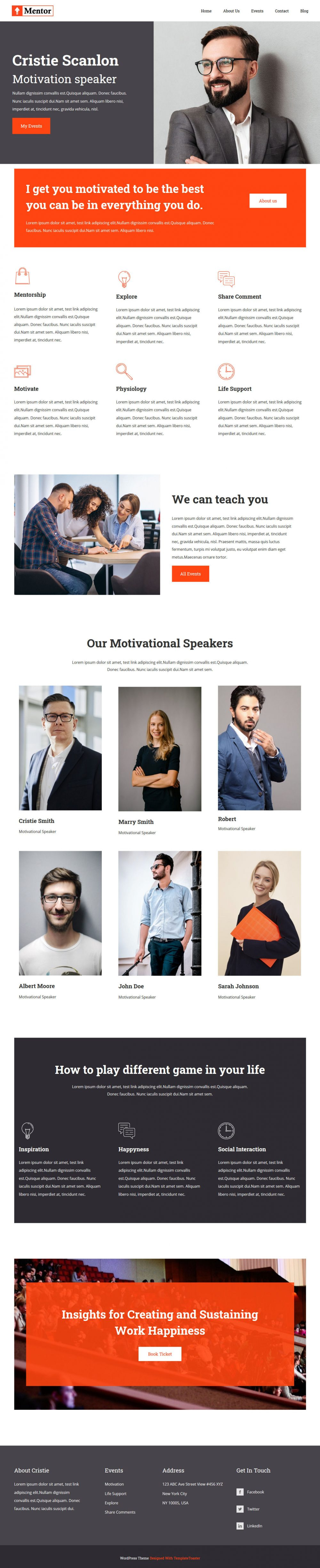 mentor motivational speaker blogger template