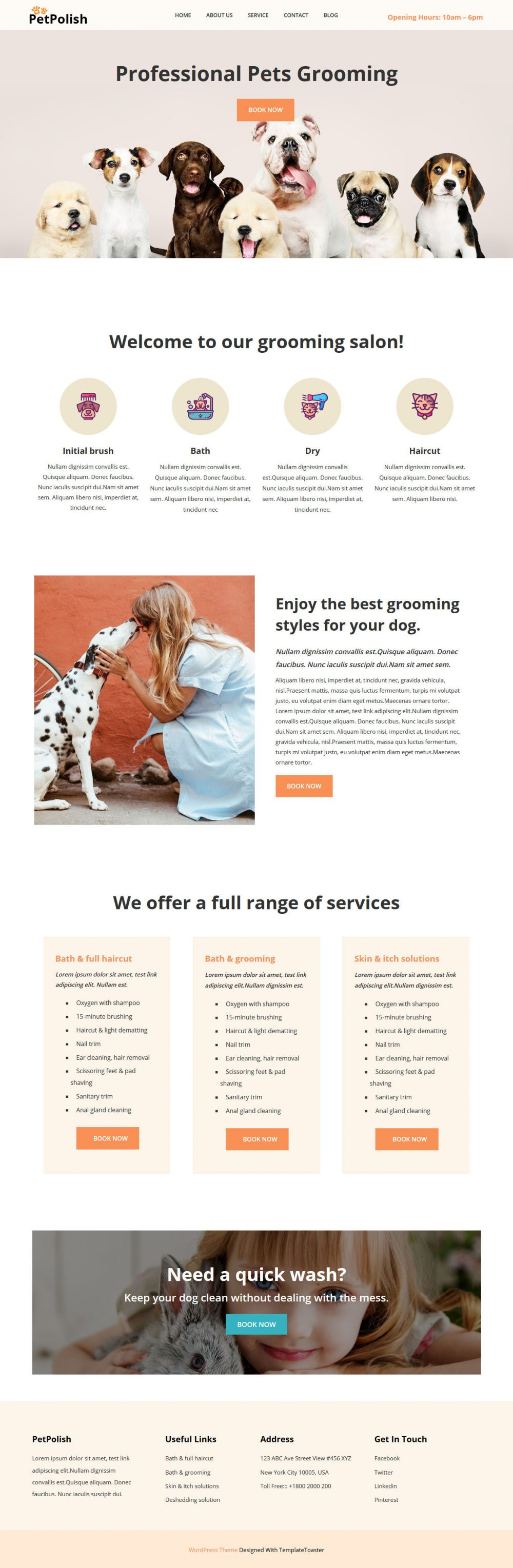 petpolish pet cleaning and care services wordpress theme