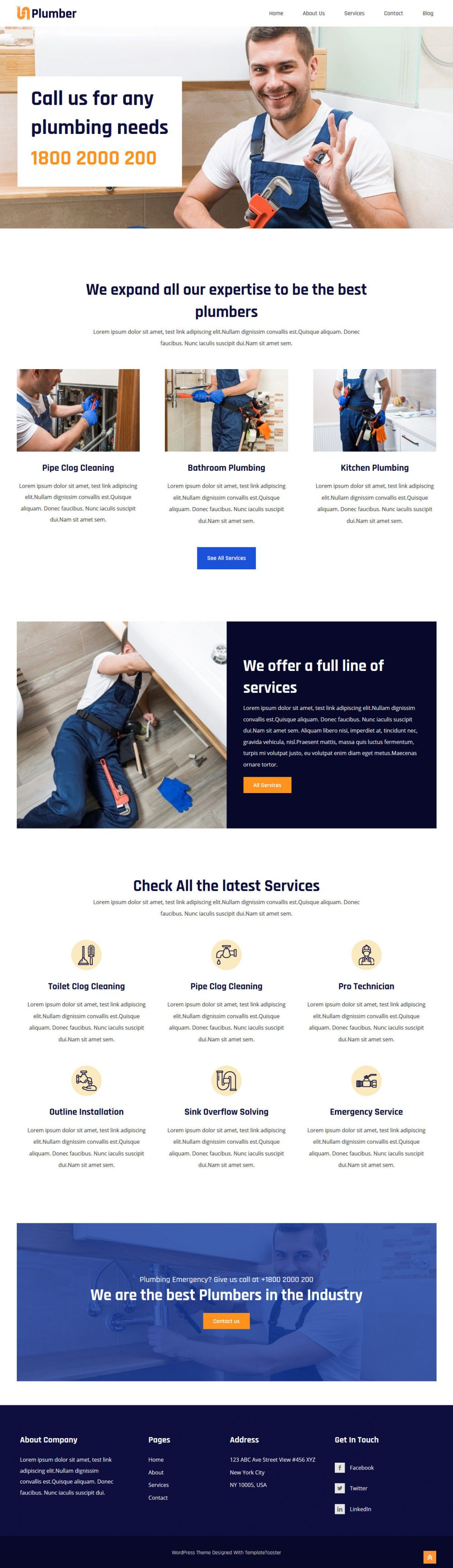 plumber plumbing wordpress theme