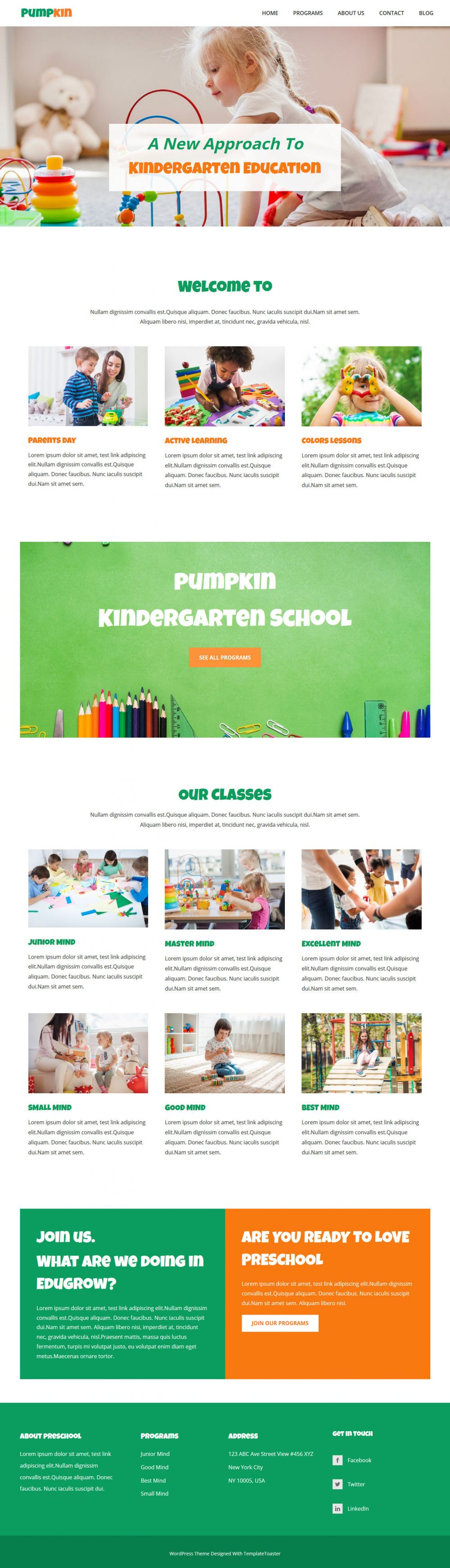 pumpkin kindergarten education wordpress theme