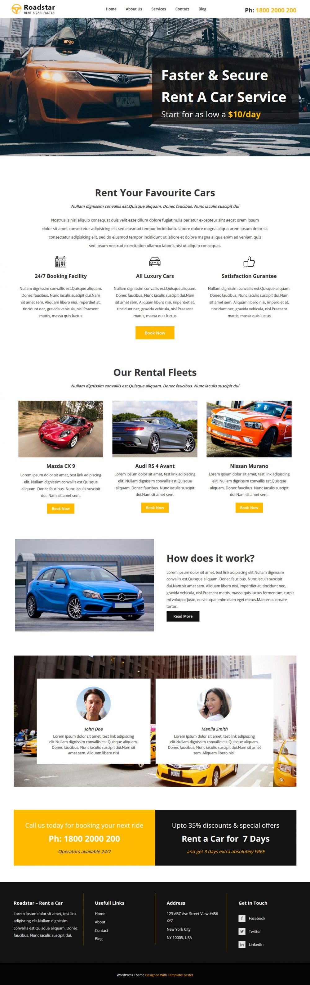 roadstar car rental services wordpress theme