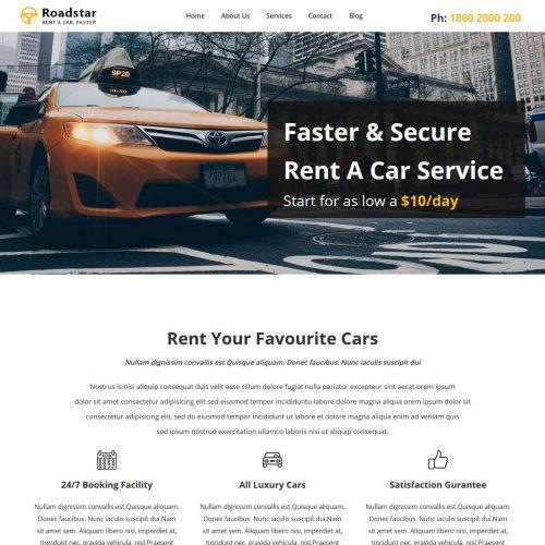 roadstar car rental services wordpress theme