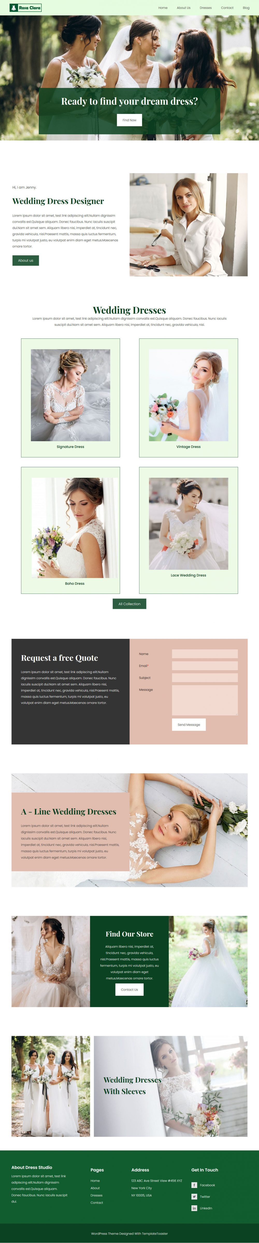 rosa clara wedding dress designer wordpress theme