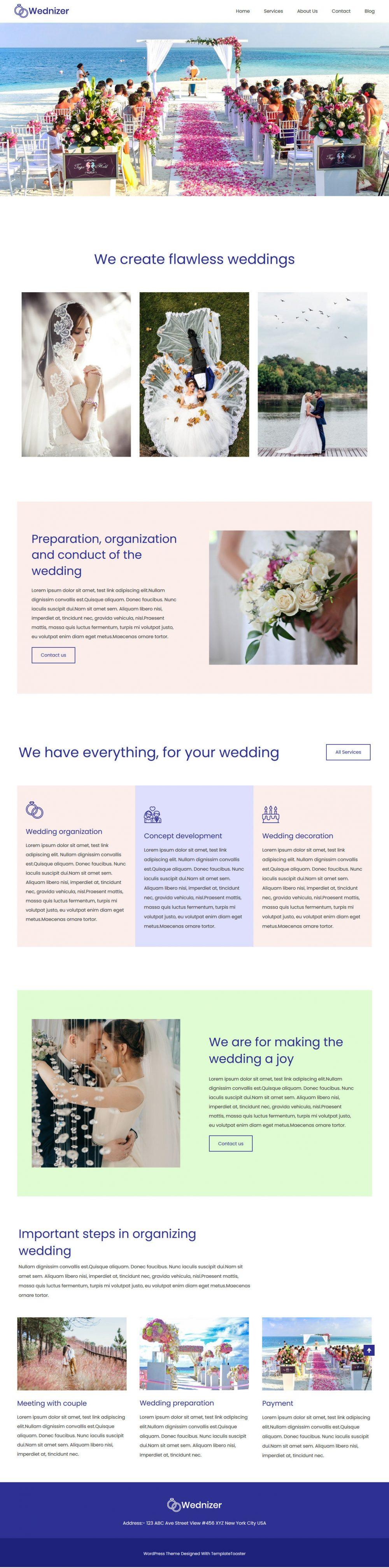 wednizer wedding organizer agency drupal theme