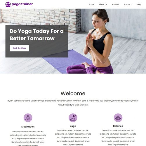 yoga trainer blogger template