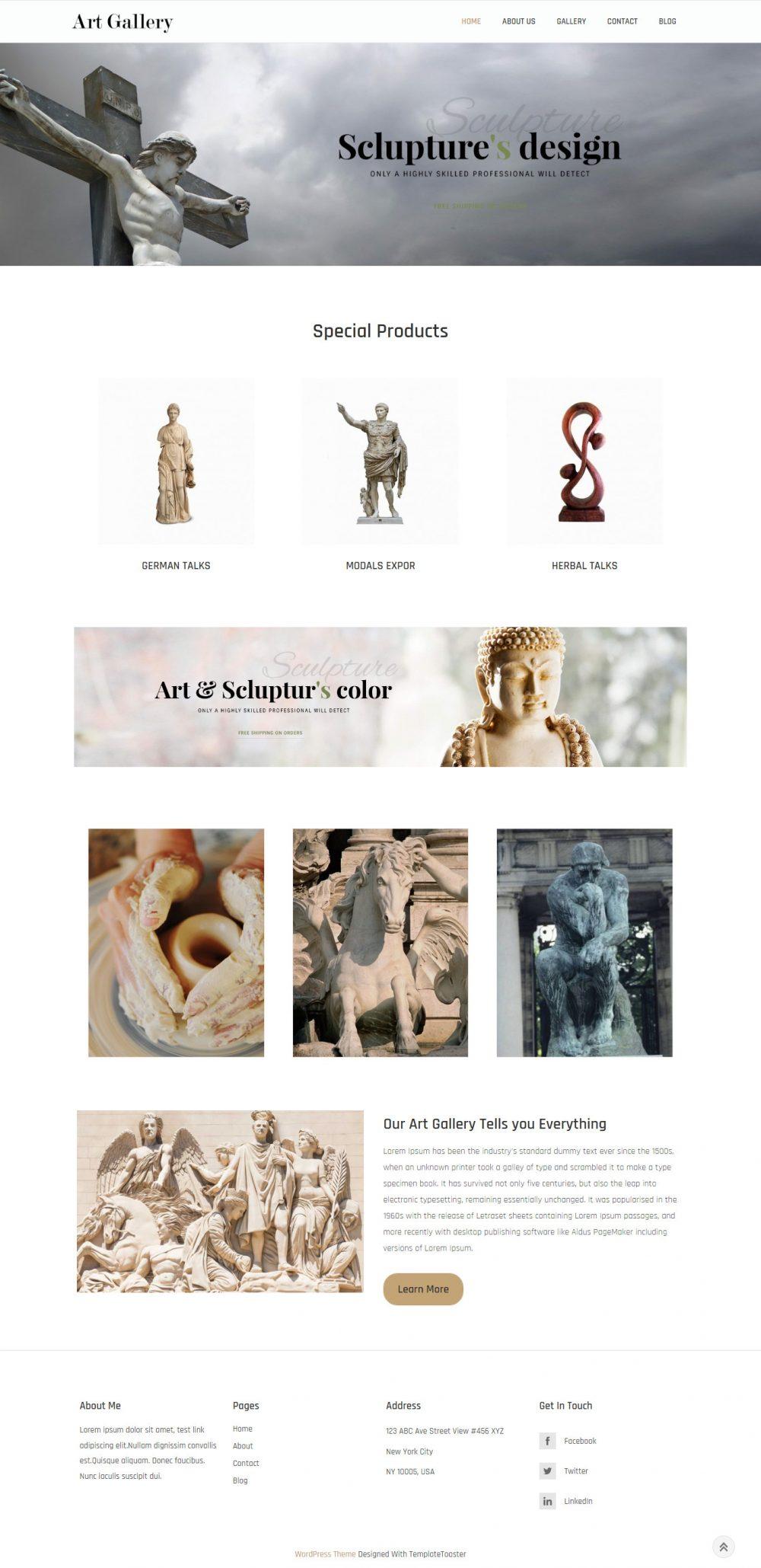 Art Gallery - Sculptor & Design HTML Template