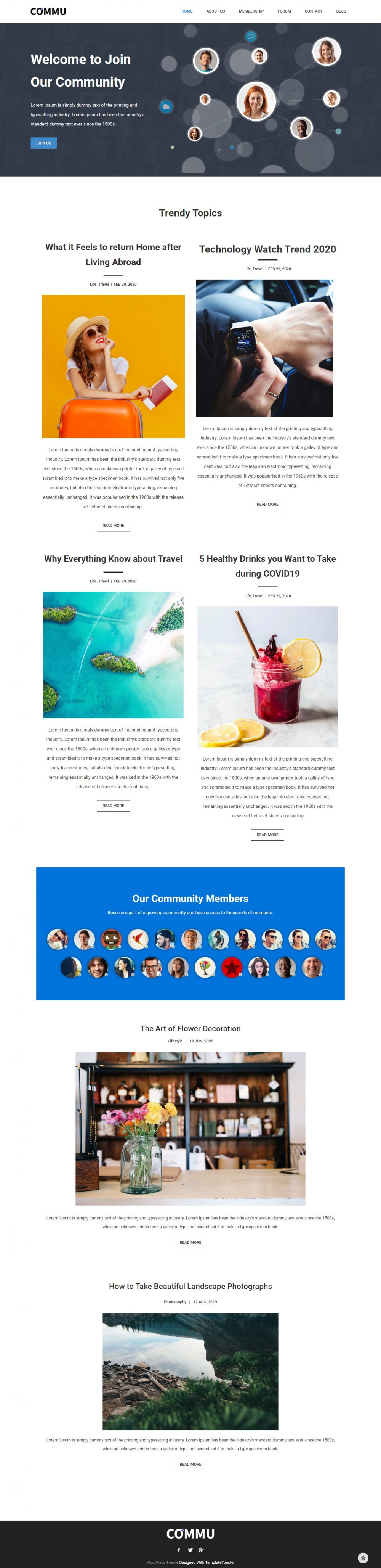 Commu - Social Networking & Community WordPress Theme