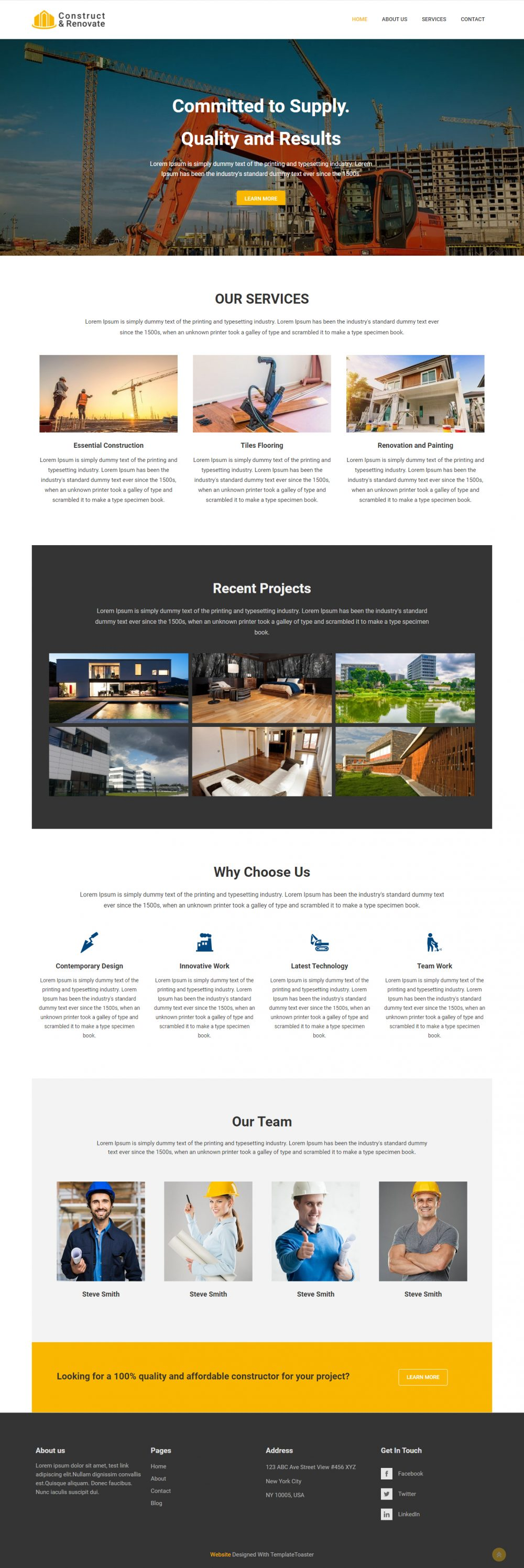 Construct & Renovate -- Construction Company Blogger Template
