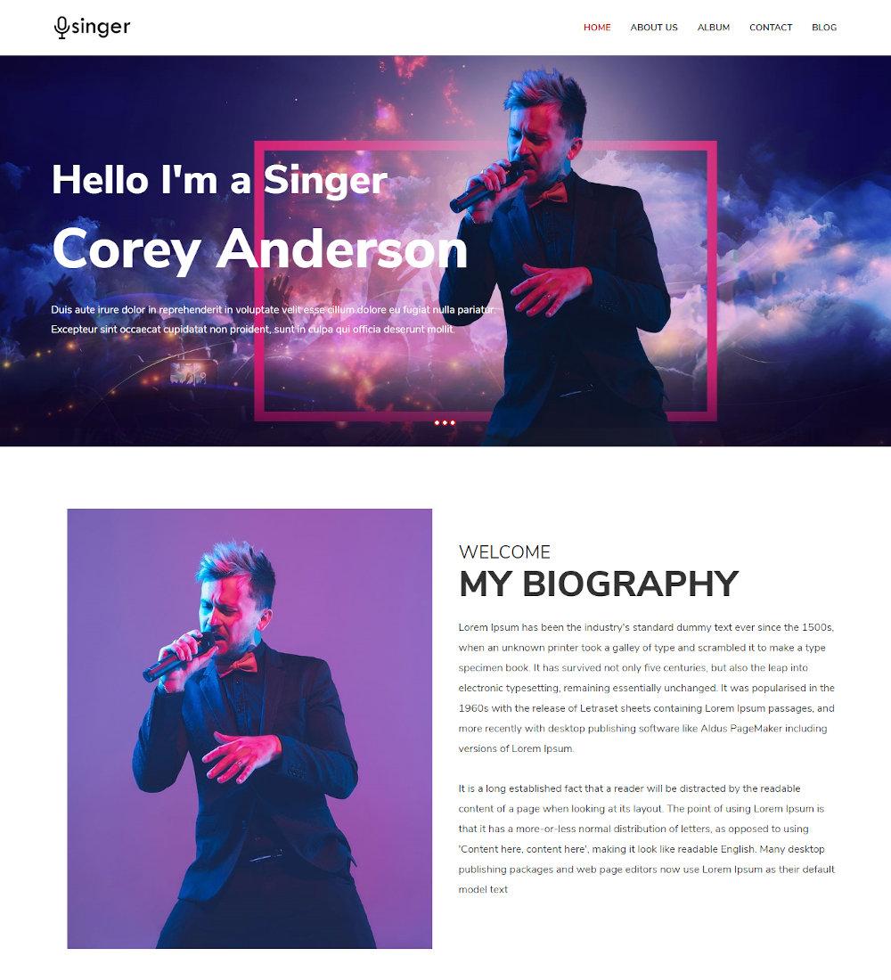 Singer - Portfolio & Biography WordPress Theme