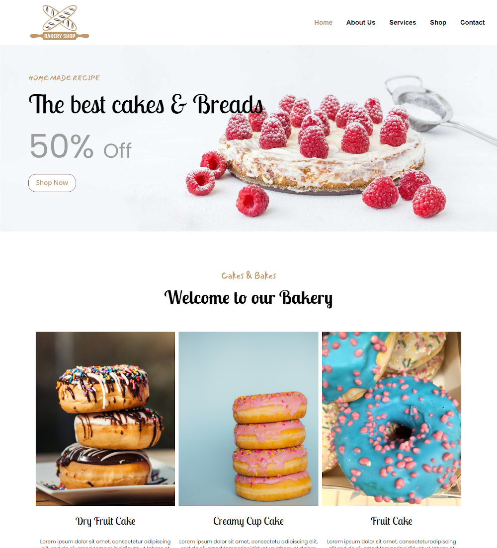 Bakery Shop - Bread & Cake Products Blogger Template