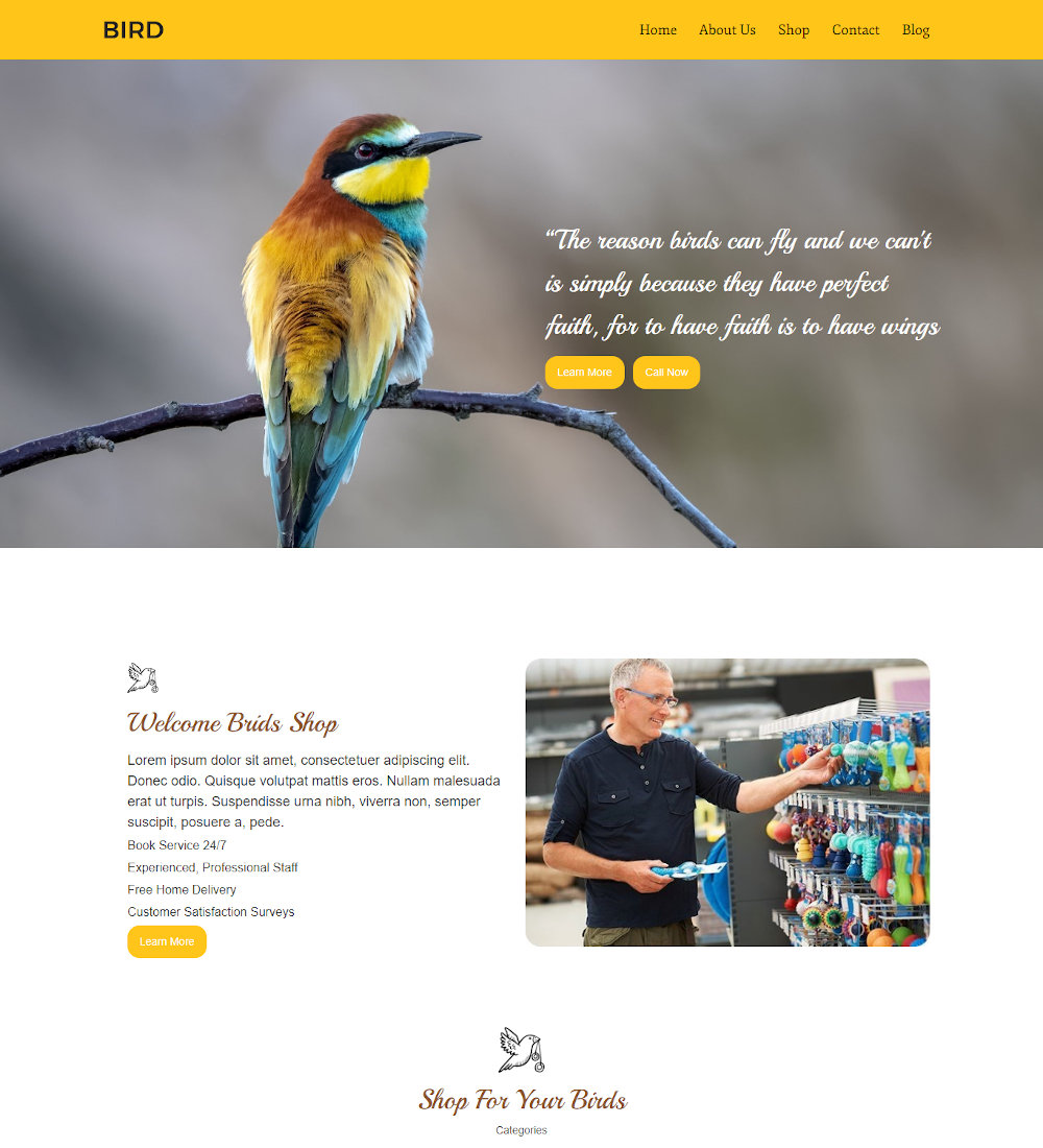 Bird - Animal and Birds Shop WordPress Theme