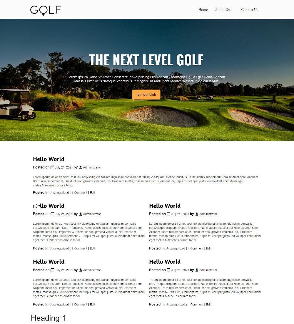 Golfex - Golf Club Blogger Template