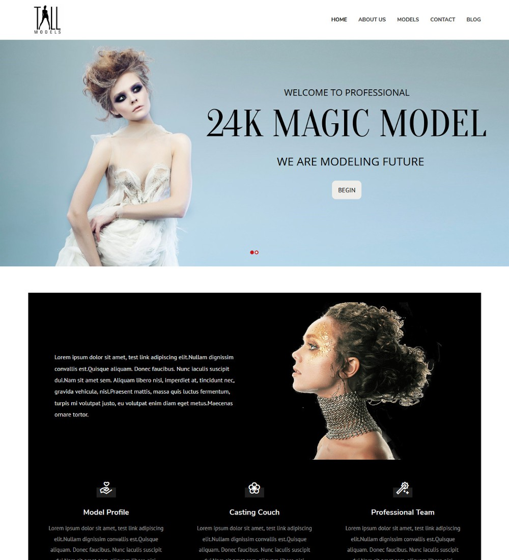 Tall Models Fashion Modeling Agency Drupal Theme