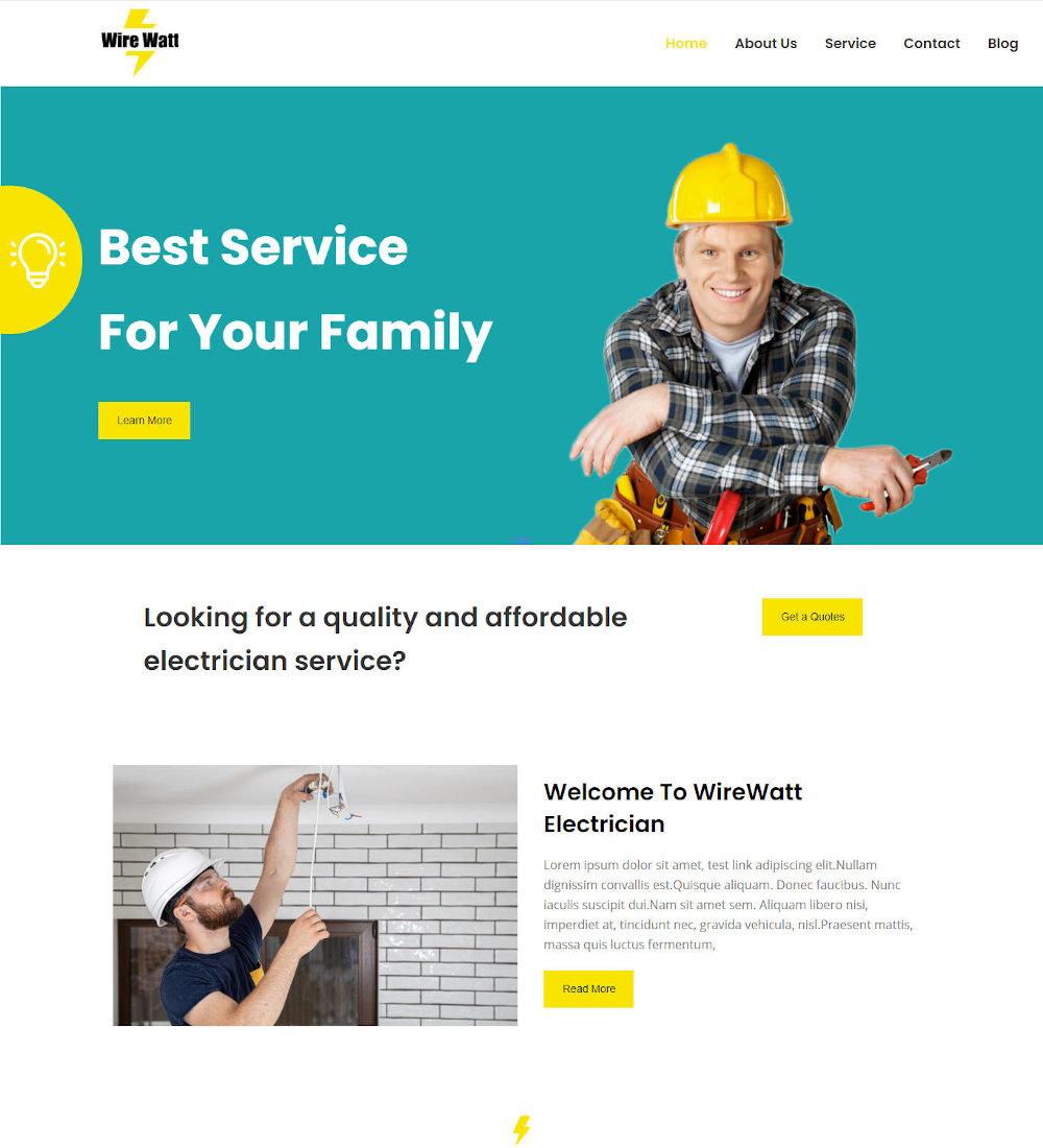 Wire Watt - Electrician Service WordPress Theme