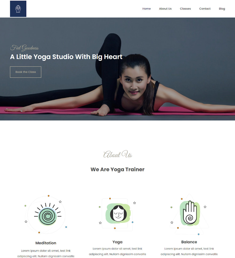 Yoga Classes & Fitness Personal Trainer Drupal Theme
