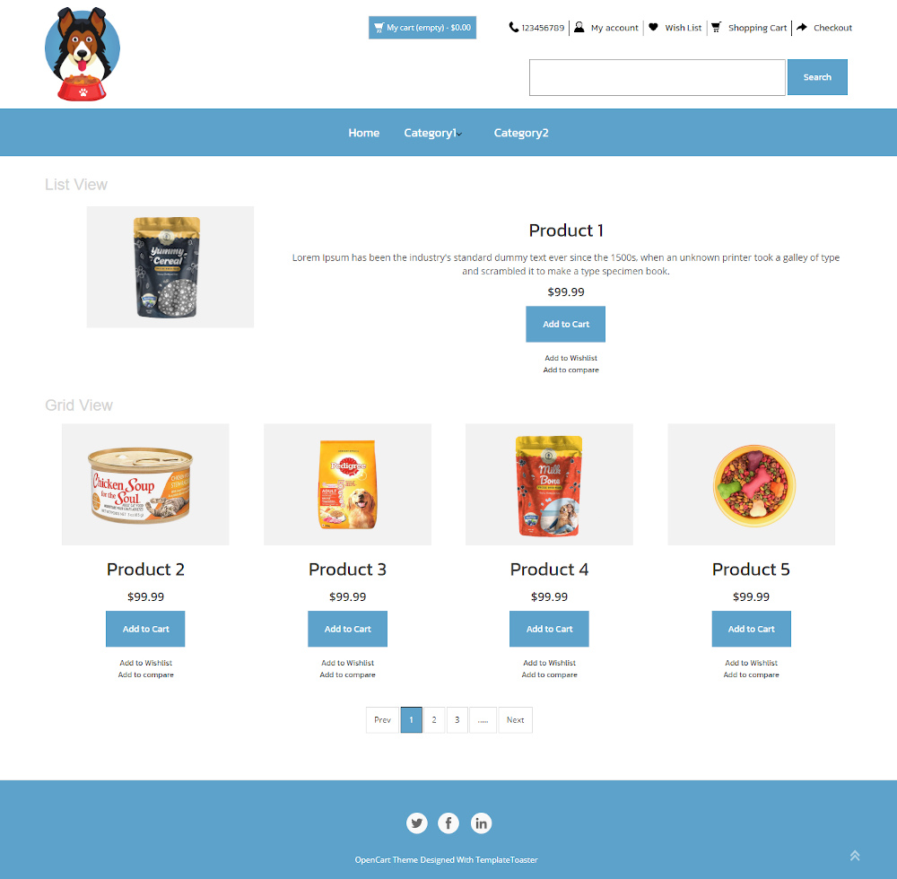 Doggy Shoppe - Online Pet Food Store OpenCart Theme