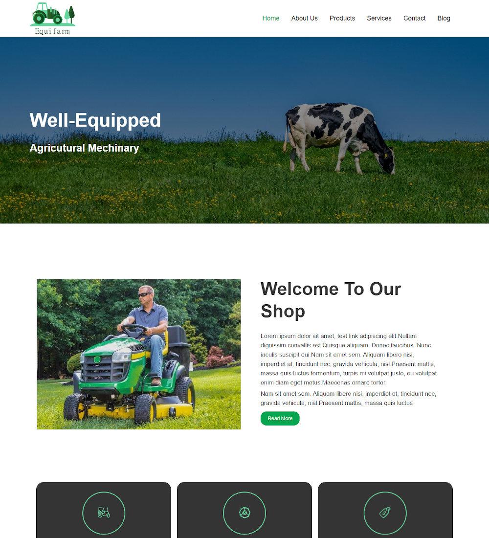 Equifarm - Agriculture Equipment Joomla Template