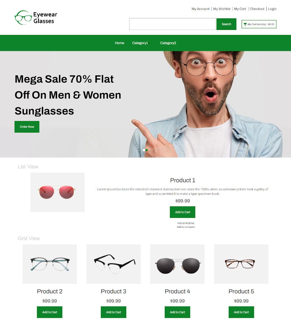 Eyewear Glasses - Online Sunglasses Store Magento Theme