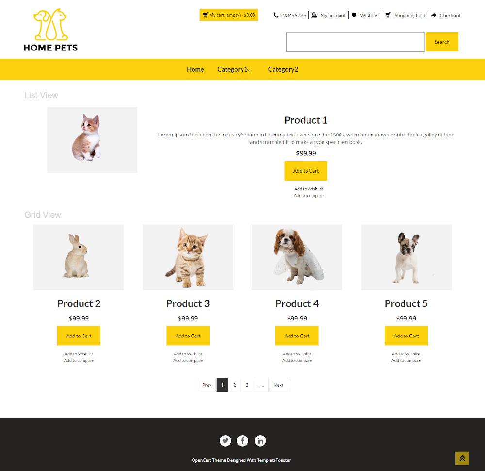 Home Pets - Online Pet Shop OpenCart Theme