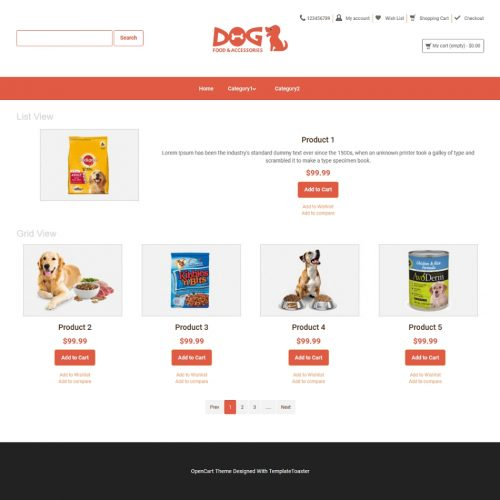 Pets and Animals OpenCart Themes