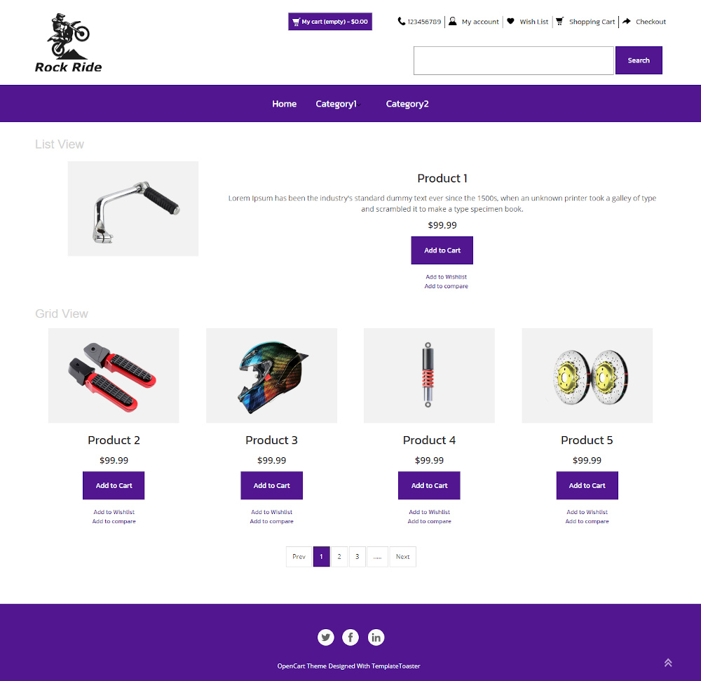 Rock Ride - Bike Accessories Store OpenCart Theme