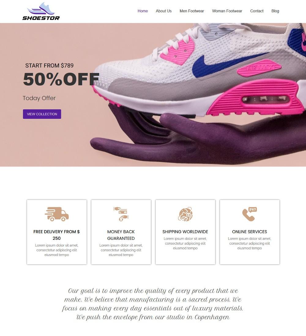 Shoestor - Shoes & Footwear Store Joomla Template