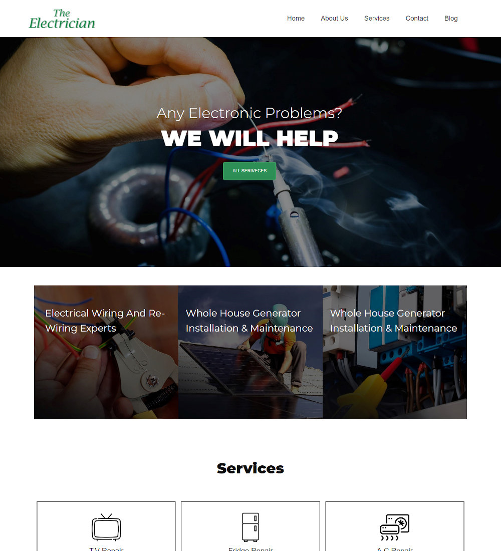 The Electrician - Electricity Services Joomla Template